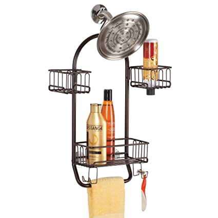 Amazon.com: mDesign Bathroom Shower Caddy for Tall Shampoo ...