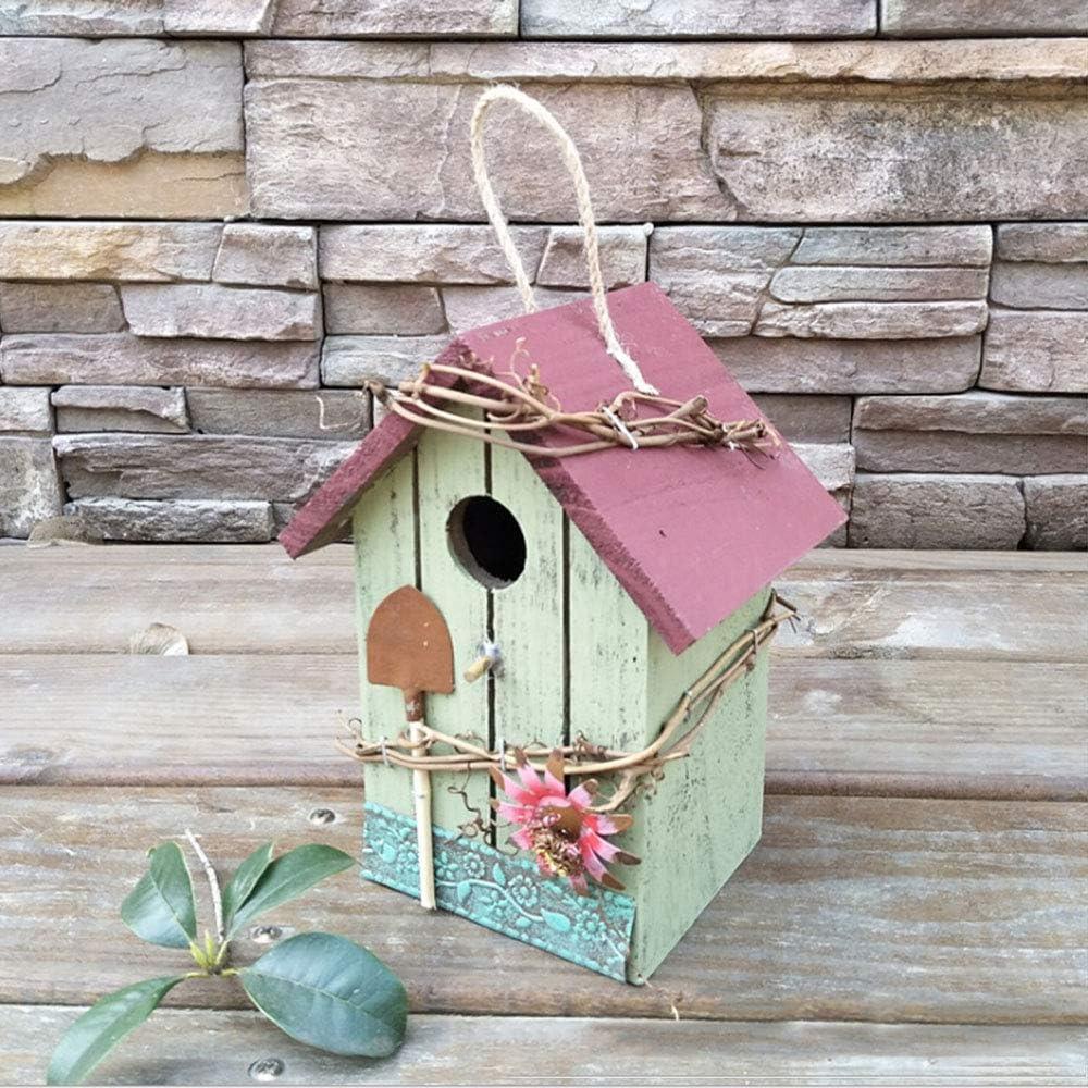 Cozyhoma Casa de pájaros de madera, para pájaros de arte retro y manualidades, casa de pájaros para colgar al aire libre, casa de pájaros hecha a mano de madera para pájaros, periquito, B