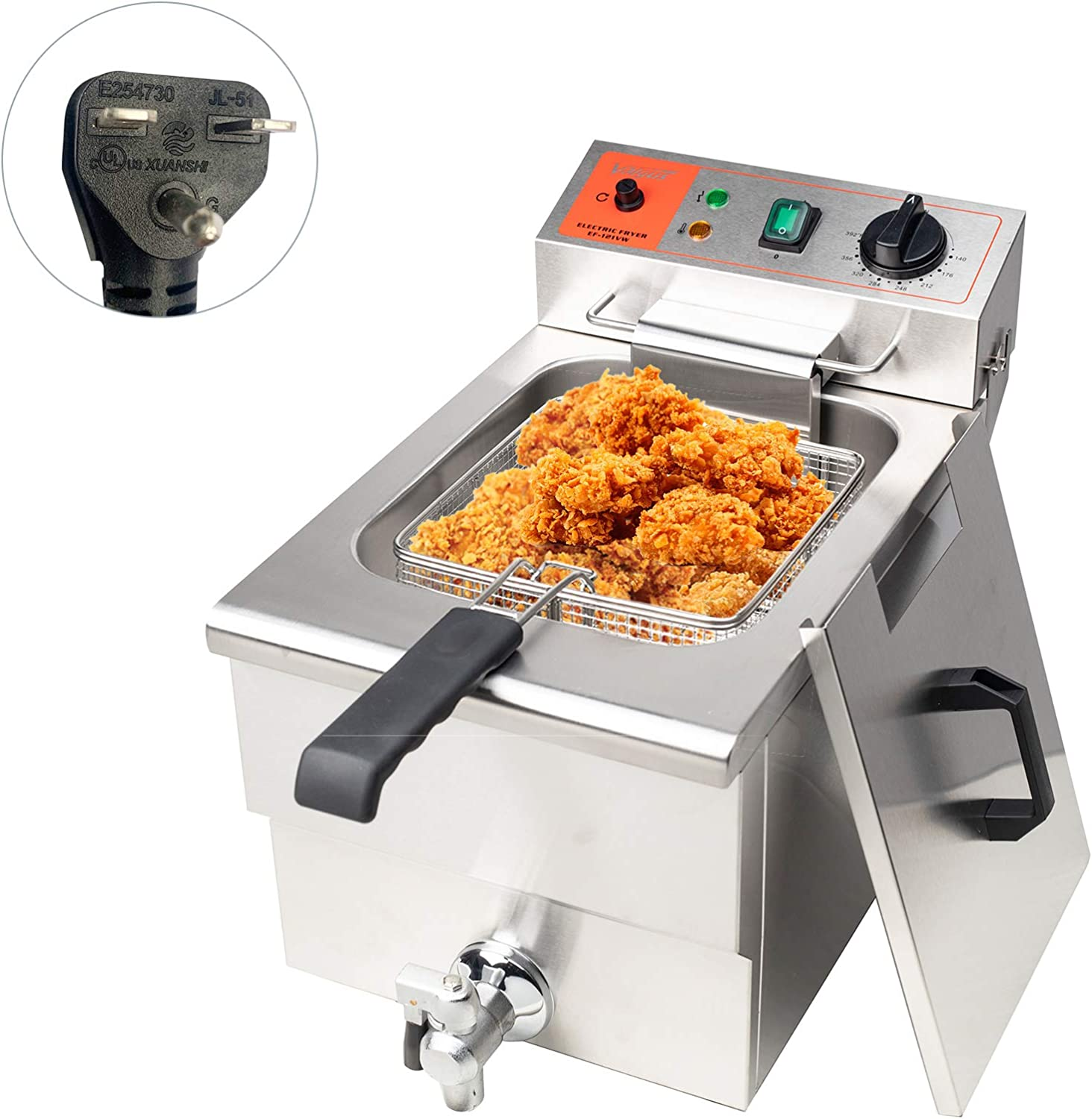 Valgus Commercial Stainless Steel Electric Deep Fryer 3000W 240V 12L Large Capacity Countertop Kitchen Frying Machine with Basket & Lid, Drain System for Restaurant and Home