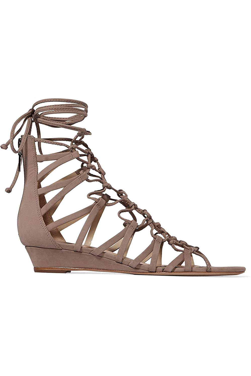 SCHUTZ Nitty Natural Beige Lace-up Leather Low Wedge Gladiator Lace-up Beige Nubuck Sandals B07C5941CH 11 B(M) US e408c6