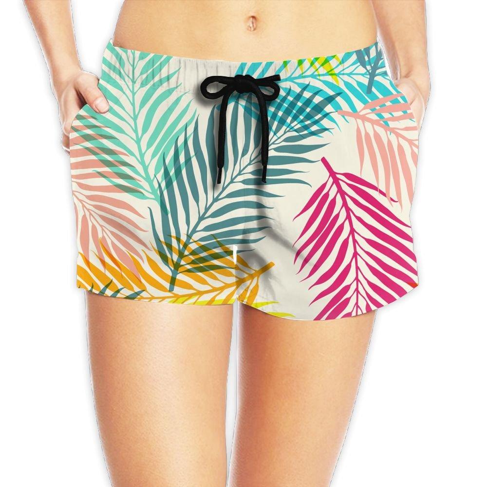 Seaside Beach Short for Women - Colorful Fine Leaves