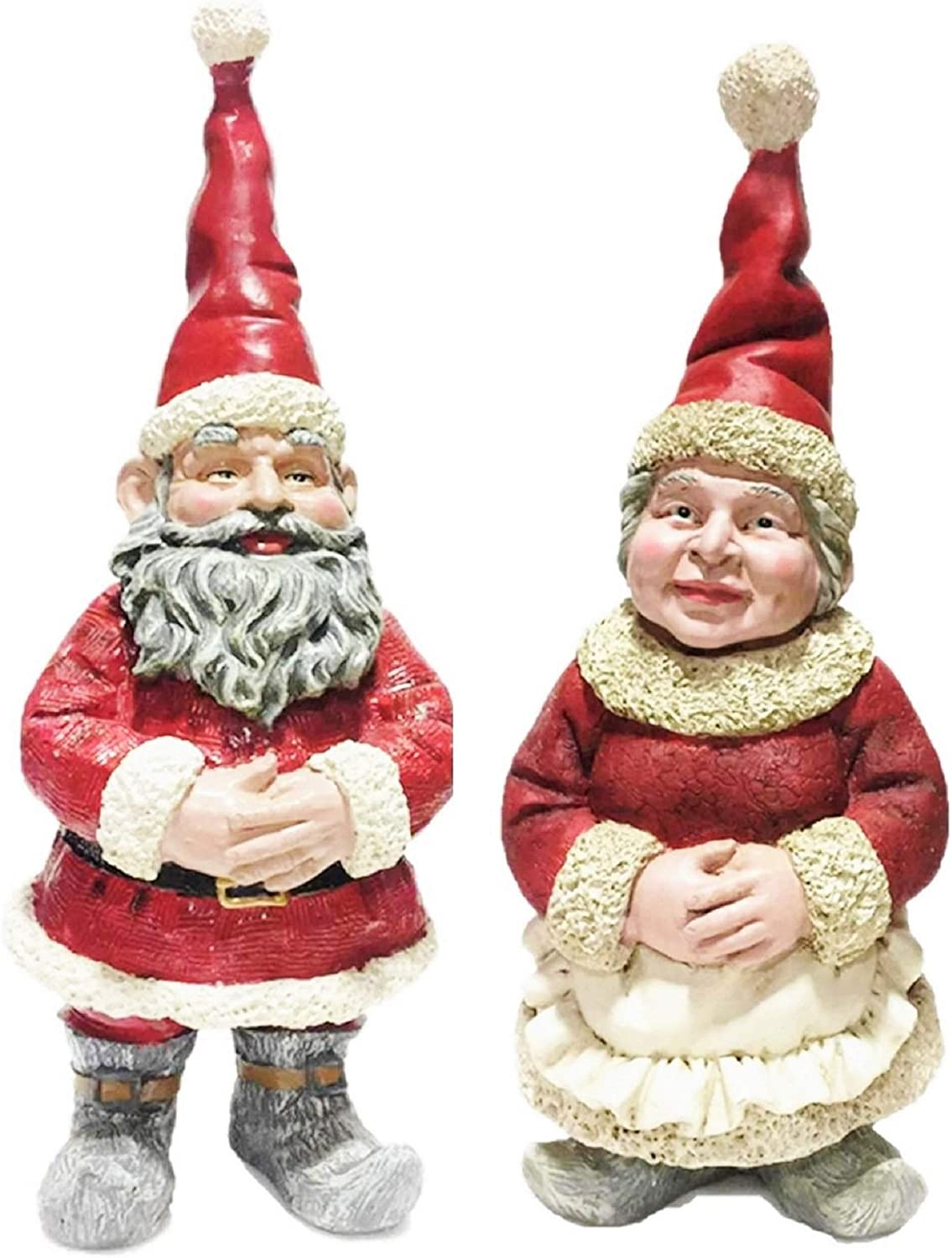 Nowaday Gnomes - Christmas Santa Claus & Mrs. Claus Garden Gnome in Santa Suit and Holiday Cooking Apron Statue