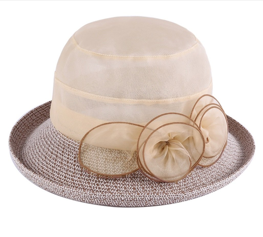 Beige Sun Hat Sunscreen Fold Sun Hat Curling Flower Travel Hat ZXCV