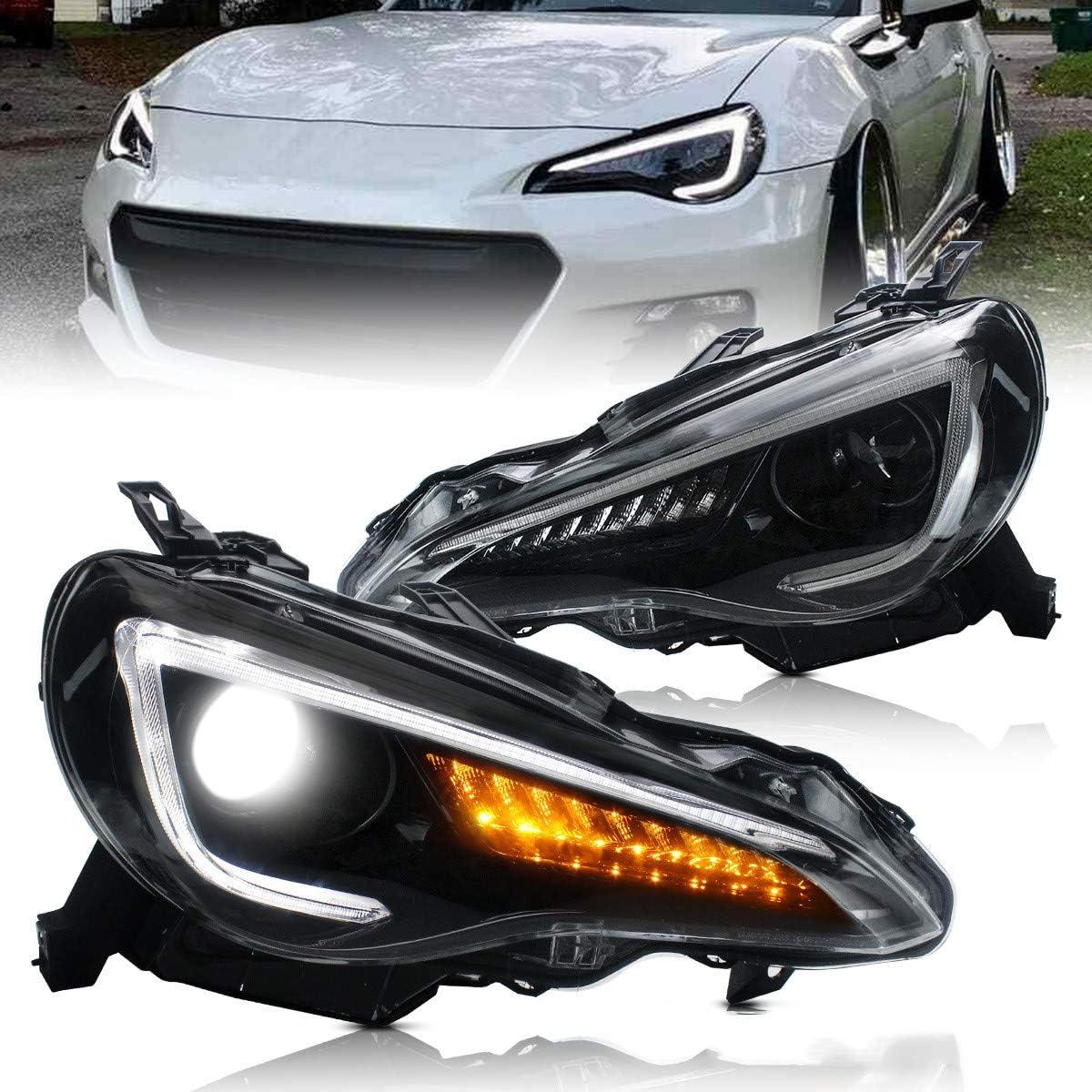 VLAND Feux phares pour 2012-2019 GT86 FT 86 BRZ FR-S Feux avant,avec clignotant dynamique,LED DRL Tech,Noir