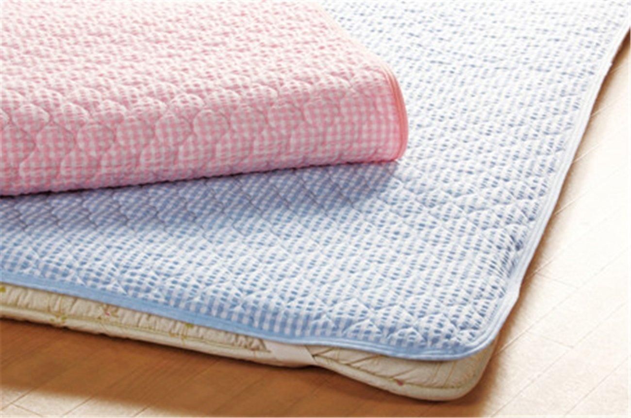 格子柄 綿100% 敷きパッド 同色2枚組 ブルー セミダブル B01KTTZT5W