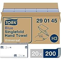Tork Blauwe Zigzag Papieren Handdoeken Universal 290145, H3 Vouwhanddoeken voor Papieren Handdoekendispenser, 1-Laags…