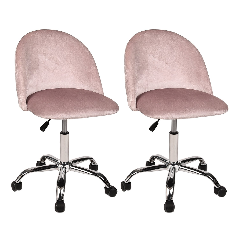 Set of 2 - Flannel Swivel Drafting Stool - Height Adjustable Comfort Seat Bar Salon Spa - Office Desk Chair, Pink