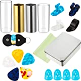 4 Pieces Medium Guitar Slides (2 Colors Stainless Steel, 2 Glass) 5 Pieces Guitar Picks 4 Piece Plastic Thumb or Finger Picks 4 Finger Pick Protectors with Cleaning Cloth and Pick Bag in a Metal Box