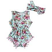 Floral Romper Baby Girls Sleeveless Tassel Bodysuit Sunsuit (0-6 Months, Green)