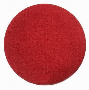 Homescapes - Tappeto rotondo tinta unita a ciuffi di basso spessore, ideale per interni o stanze di bambini, 70 cm rosso