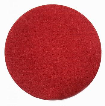 Homescapes Dekorativer Kurzflor Teppich rund rot - 150 cm: Amazon ...