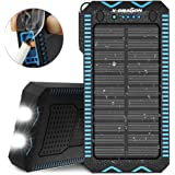 X-DRAGON Solar Charger, 15000mAh Solar Power Bank with Cigarette Lighter, Dual Super Bright LED Light Water-Resistant Dustproof Shockproof Dual USB Phone Charger for iPhone, Samsung, Cell Phone-Blue