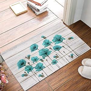 Leotear Door Mat Indoor Outdoor Entrance Rug Floor Mats Home Welcome Non-Slip Shoe Scraper Doormat for Kithchen Bathroom, 16x24 Inch - Blue Poppy Flower on Rustic Wood Plank