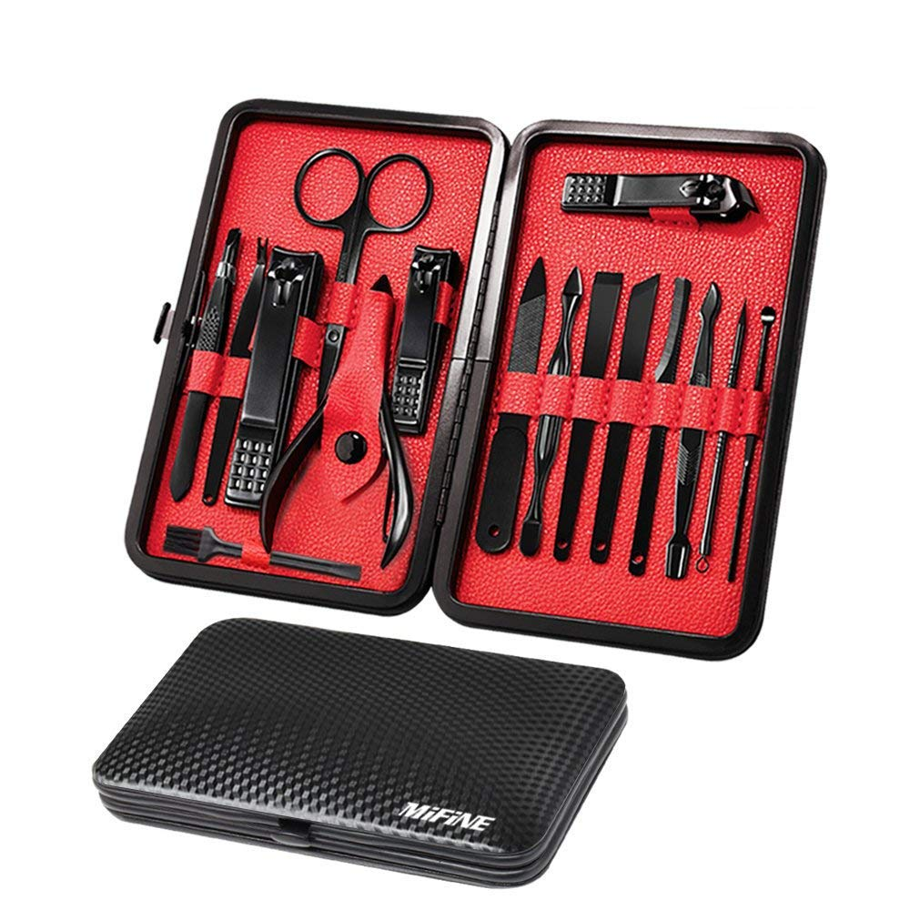 Mens Manicure Set - Mifine 16 In 1 Stainless Steel Professional Pedicure Kit Nail Scissors Grooming Kit with Black Leather Travel Case Second Generation(Red) by Mifine