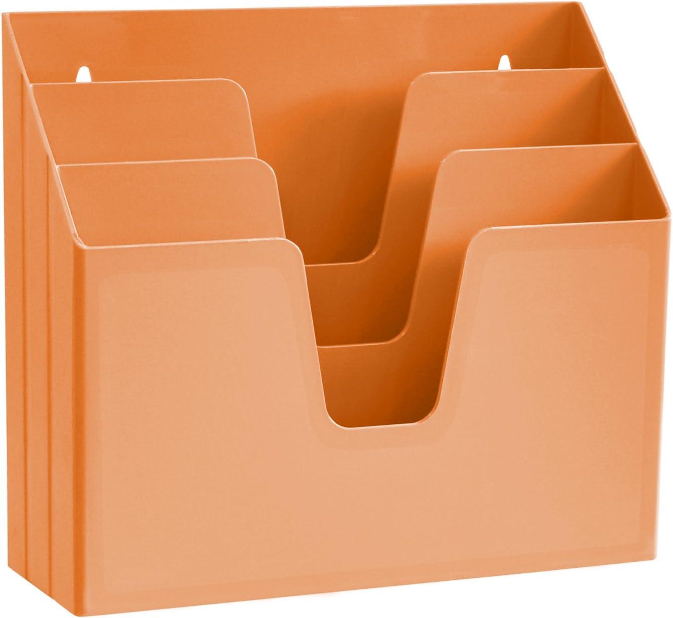 Acrimet Horizontal Triple File Folder Organizer (Orange Citrus Color)