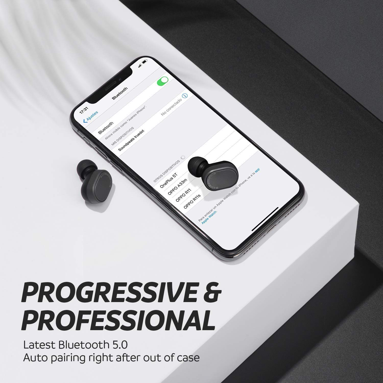 Auriculares Inalámbricos Bluetooth 5.0 SoundPEATS Truedot Cascos In-Ear True Wireless Invisibles Sonido Estéreo Mini Audífonos Gemelos Manos Libres ...
