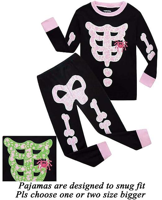 dolphinfish girls halloween pajamas kids pjs skeleton glow in the dark toddler halloween