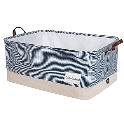 c2f5edf80941 DOKEHOM 22-Inches Thickened X-Large Storage Basket -22x15x13 Inches-  Drawstring Canvas Underbed Storage, Square Cotton Linen Collapsible Toy  Basket ...