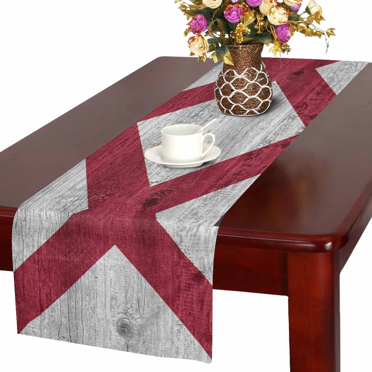 InterestPrint Flag of Alabama State (USA) on Wood Table Runner Linen & Cotton Cloth Placemat Home Decor for Kitchen Dining Wedding Party 16 x 72 Inches