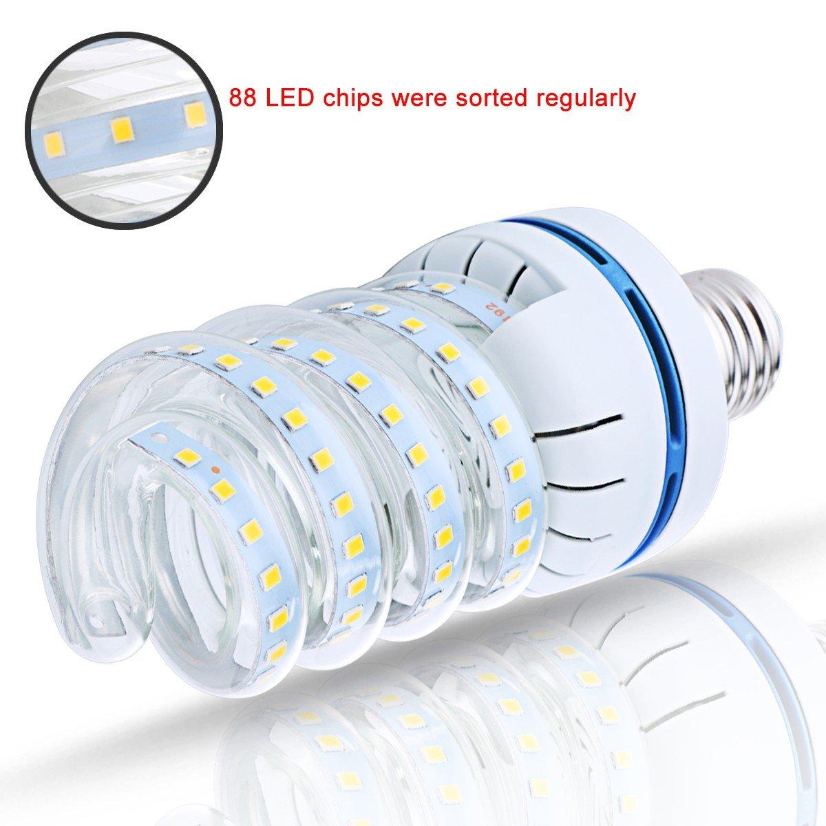 Pack of 2 6000K Cool White E26 Spiral Fluorescent Light Bulb 120W Equivalent Perfect for Household Lighting LEHASI CFL LED Bulbs 16W Dining Room Light 1520 Lumen E26 Medium Base CFL LED