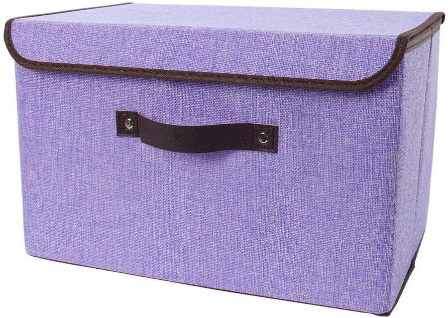 uxcell Linen Fabric Foldable Storage Bins Container with Lid and Faux Leather Handles, Storage Toy Boxes Cubes Organizer for Clothes Home Office Closet Bedroom Purple, Large