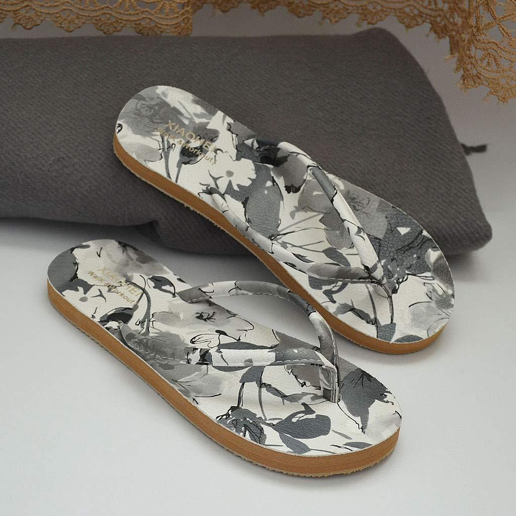 Sweet Flip Flops Summer Fashion Women Beach Printed Anti-Skid Cute Slim Lightweight Flat Bottom Leisure Slippers