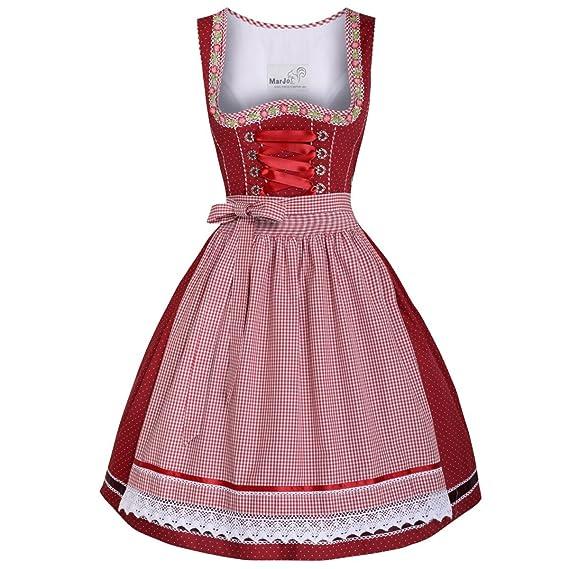 a5c60606485fd MarJo Trachten Damen Trachten-Mode Mini Dirndl Germa in Rot traditionell