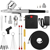 Airbrush, AGPTEK Mini Airbrush with Air Compressor, Dual Action Portable Airbrush Kit for Cake Decorating, Craft Tools…