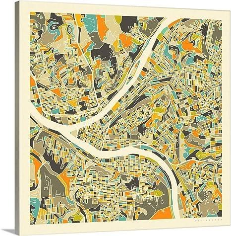 Amazon Com Pittsburgh Aerial Street Map Canvas Wall Art Print 24 X24 X1 25 Posters Prints