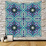 iPrint Polyester Tapestry Wall Hanging,Arabian,Arabesque Pattern Tradicional Islamic Art Geometry Decorative Persian Damask Art,Turquoise,Wall Decor for Bedroom Living Room Dorm