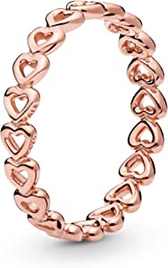خاتم مطلي بالذهب الوردي بتصميم قلوب متراصة للنساء من باندورا - قياس 52 EU - 180177-52