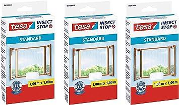 Tesa Moustiquaire pour fenêtre Standard Blanc Lavable Protection Insectes Mouches