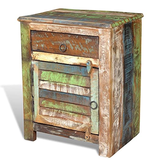 vidaXL Rustic End Table Bedside Cabinet Bedroom Antique Reclaimed Solid Wood Furniture