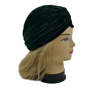 8c08028d0d7 Amazon.com   Lady Stretchy Turban Head Wrap Band Chemo Bandana Hijab  Pleated Indian Cap Hat (Velvet Green)   Beauty