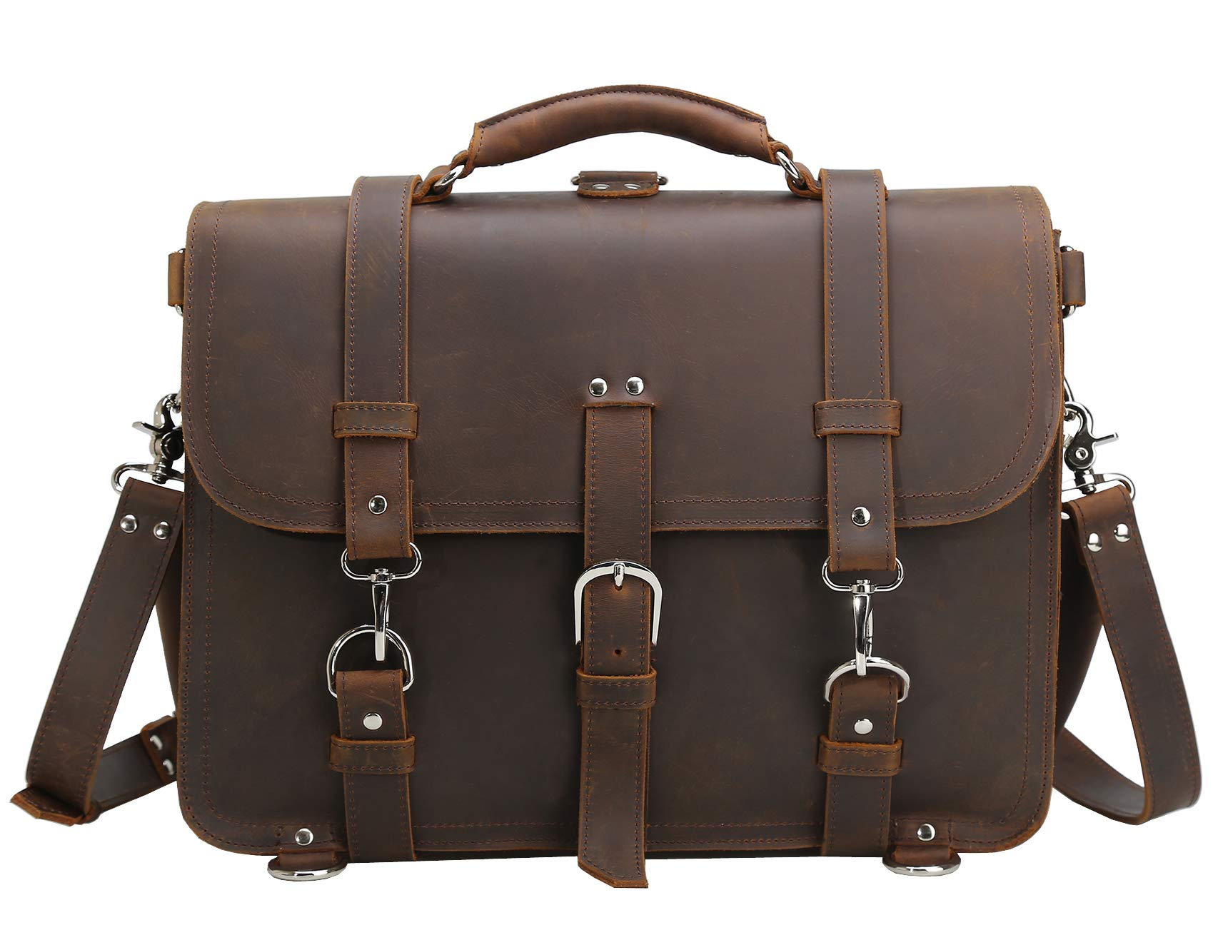 Polare Men's Full Grain Leather 16'' Laptop Briefcase Shoulder Messenger Bag by Polare (Image #7)