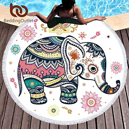 Amazon.com: Beddingoutlet Floral Boho Round Beach Towel Indian Elephant Tassel Tapestry Yoga Mat Colorful Printed Toalla Blanket 150cm by RKR Shop: Home & ...