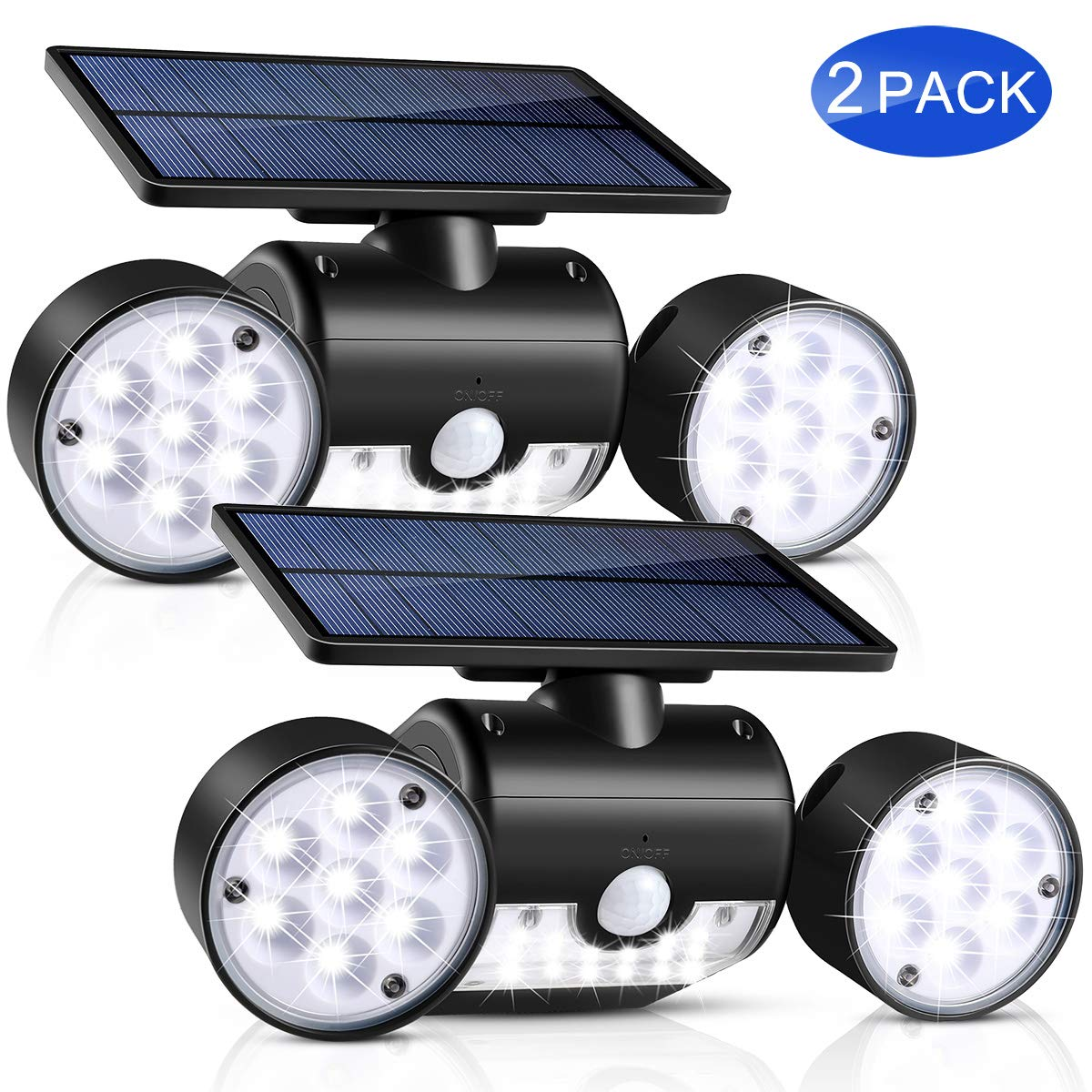 Solar Lights Outdoor, UNIFUN 30 LED Waterproof Solar Powered Wall Lights with Dual Head Spotlights 360-Degree Rotatable Solar Motion Security Night Lights for Outdoor Pation Yard Garden (Pack 2) by UNIFUN (Image #1)