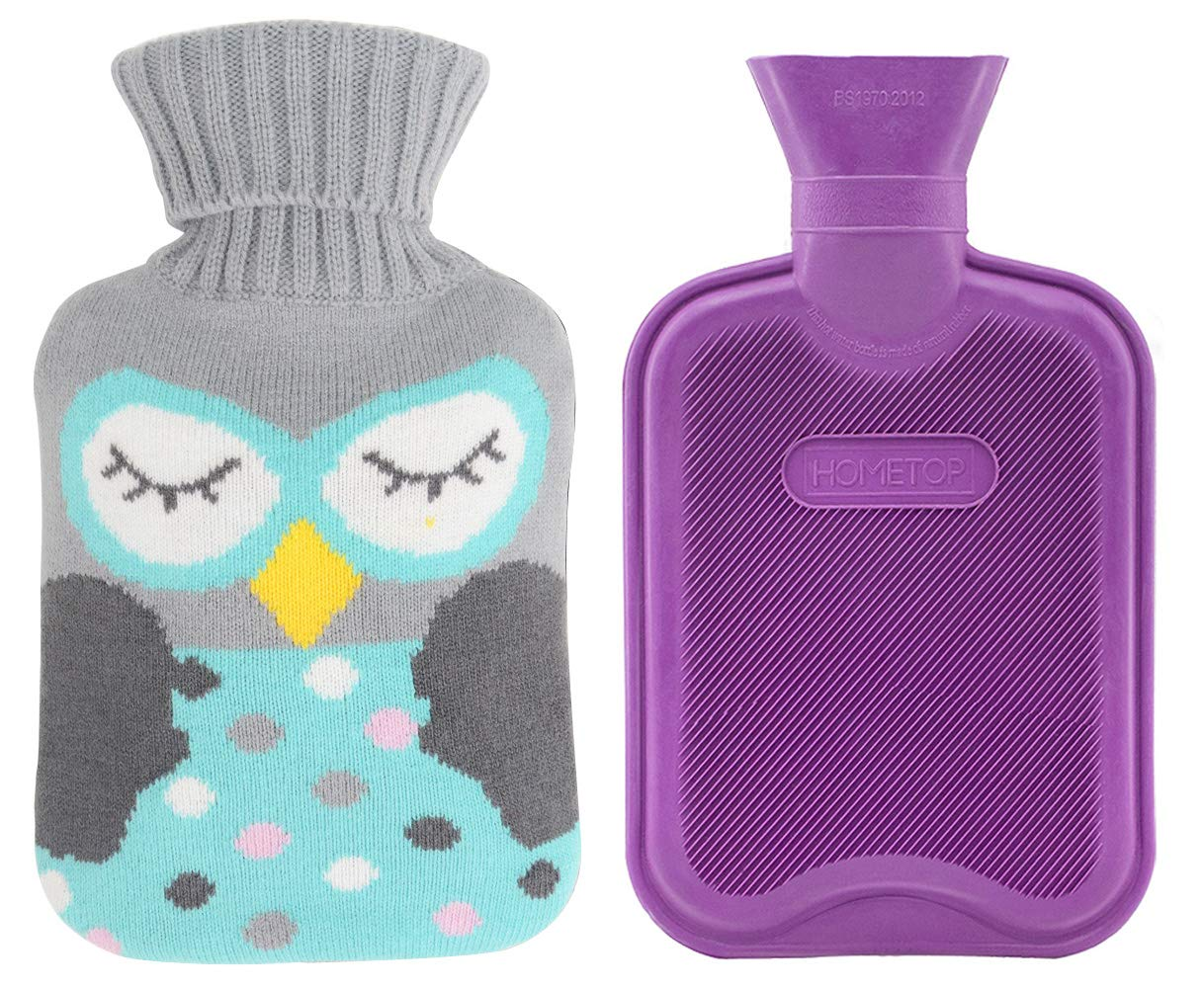 Premium Classic Rubber Hot Water Bottle and Cute Pattern Embroidery Knit Cover (1L, Purple/Gray with Green Owl)