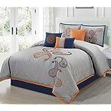 Chezmoi Collection Naomi 7-Piece Navy Orange Paisley Floral Embroidery Comforter Bedding Set (Queen)