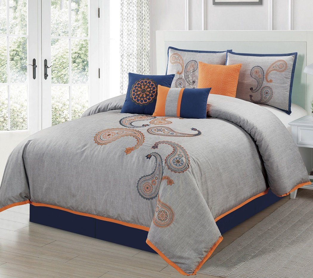 7-Piece Navy Orange Paisley Floral Embroidery Comforter Bedding Set (California King