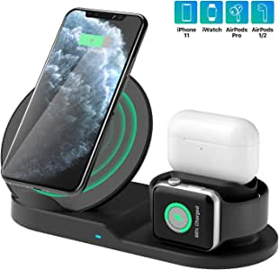 Wireless Charger Station, 3 in 1 Fast Charger Stand for Apple Watch Series 5 4 3 2 1/Airpods, Wireless Charger for iPhone 11/11pro/11pro Max/X/XS/XR/XS Max/8/8 Plus and Other Qi Phone