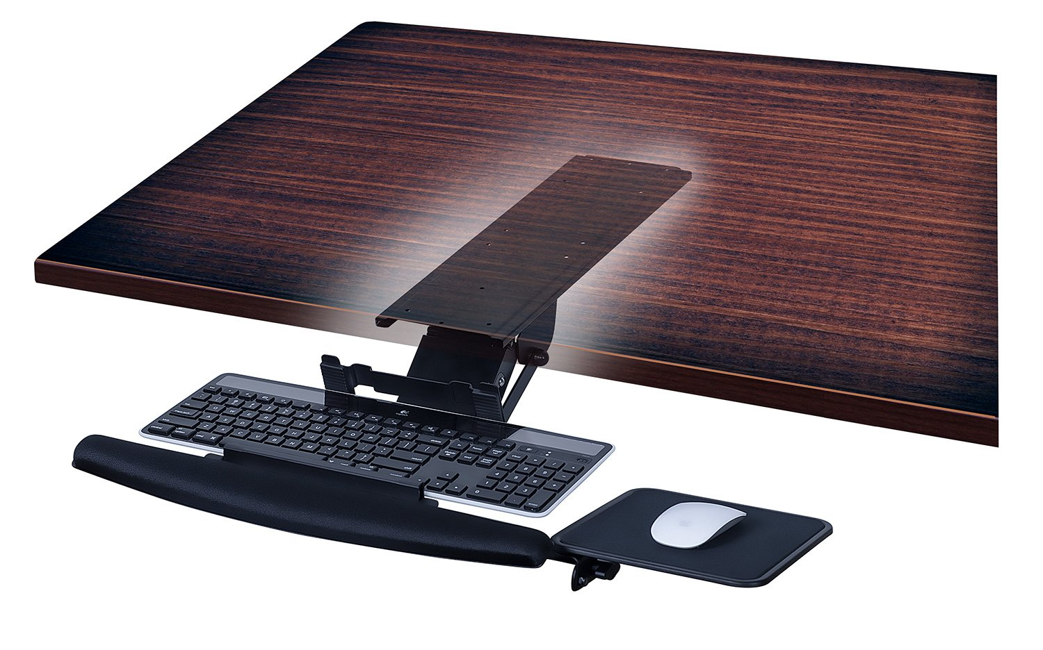 Mount-It! MI-7133 Underdesk Keyboard Tray Drawer, Ergonomic Gel Wrist Pad, Mouse Pad Included, Black