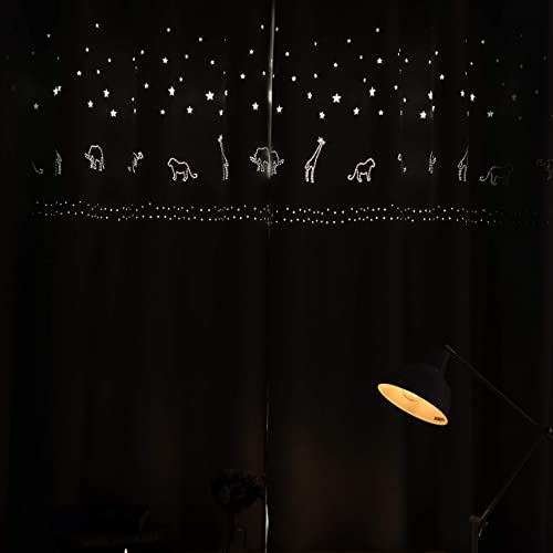 MANGATA CASA Baby Nursery Blackout Curtains Cutout Design with Animal for Boy Kids Room 2 Panels, Grommet Darkening Drapes Die Cut Window for Children Room Greyish White 52X84IN