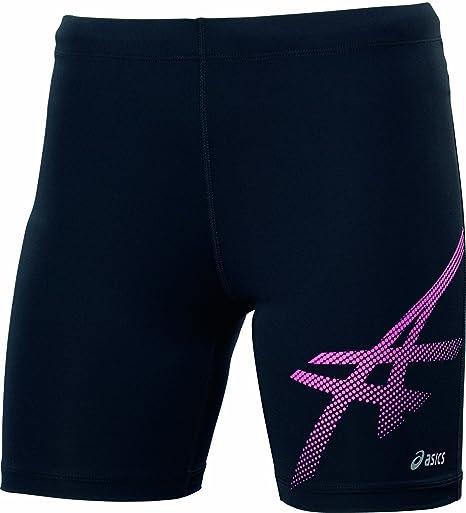 Asics Mujer Tigre Sprinter pantalón Corto Negro Rosa Lycra, Color Negro/Rosa, tamaño