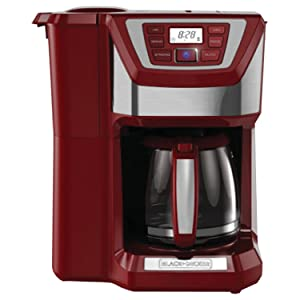 BLACK+DECKER CM5000R 12-Cup Mill and Brew Coffee Maker, Red