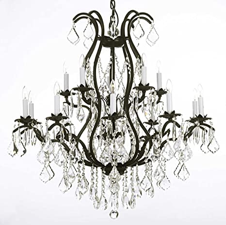 Wrought iron chandelier crystal chandeliers lighting h36 x w36 wrought iron chandelier crystal chandeliers lighting h36quot aloadofball Choice Image