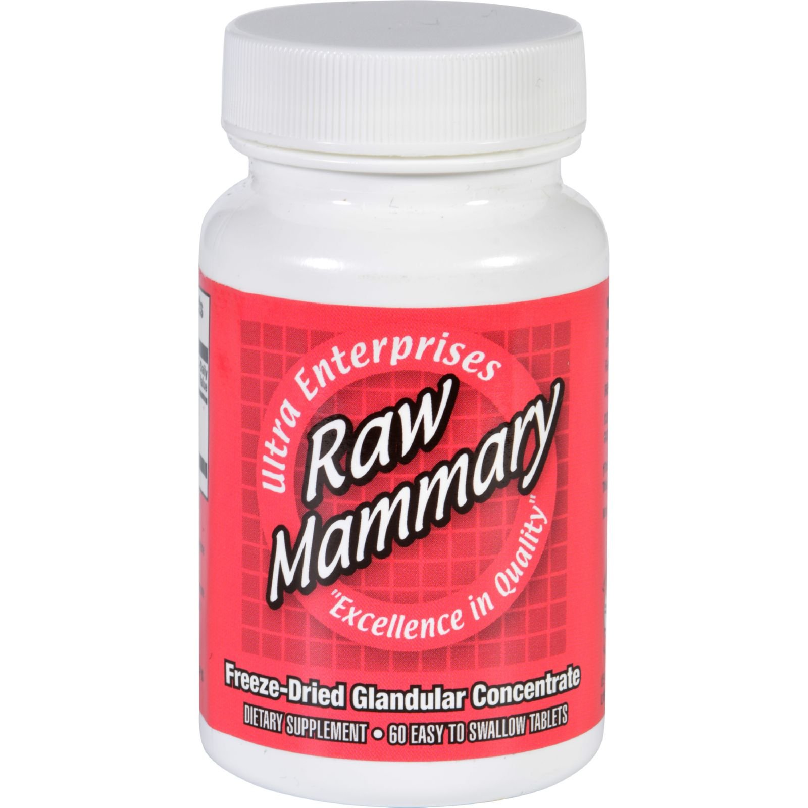 Ultra Glandulars Mammary - Raw - Easy To Swallow - Gluten Free - 60 Tablets (Pack of 4)