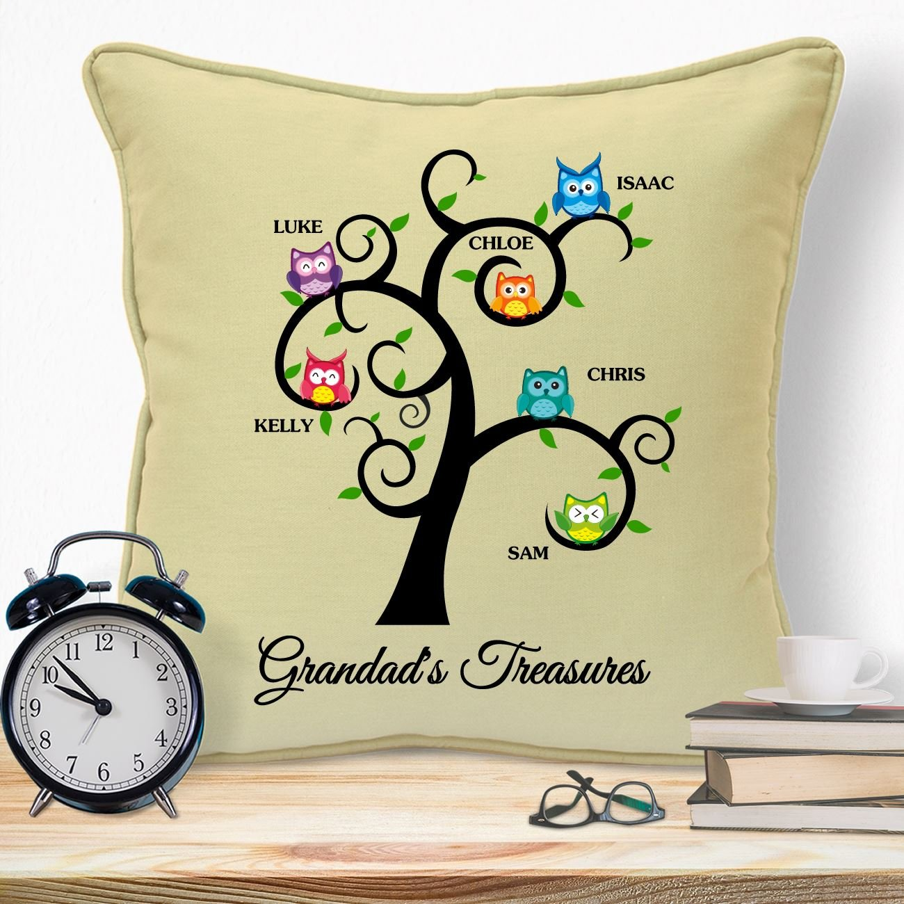 Personalised Gifts For Grandad Grandpa Grandfather Papa Pops Daddy Young Fathers Day Birthday Christmas Xmas From Grandson Daughter Bump Grandchildren Kids Unique Ideas Grandads Treasures Cushion