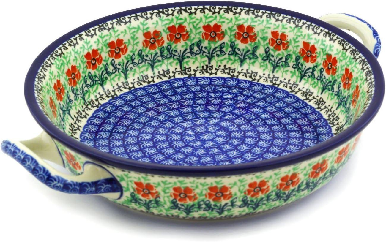 5 Length Deep 9 2.75 Width Polish Pottery Loaf Baker with Handles From Zaklady Ceramiczne Boleslawiec #1381-41