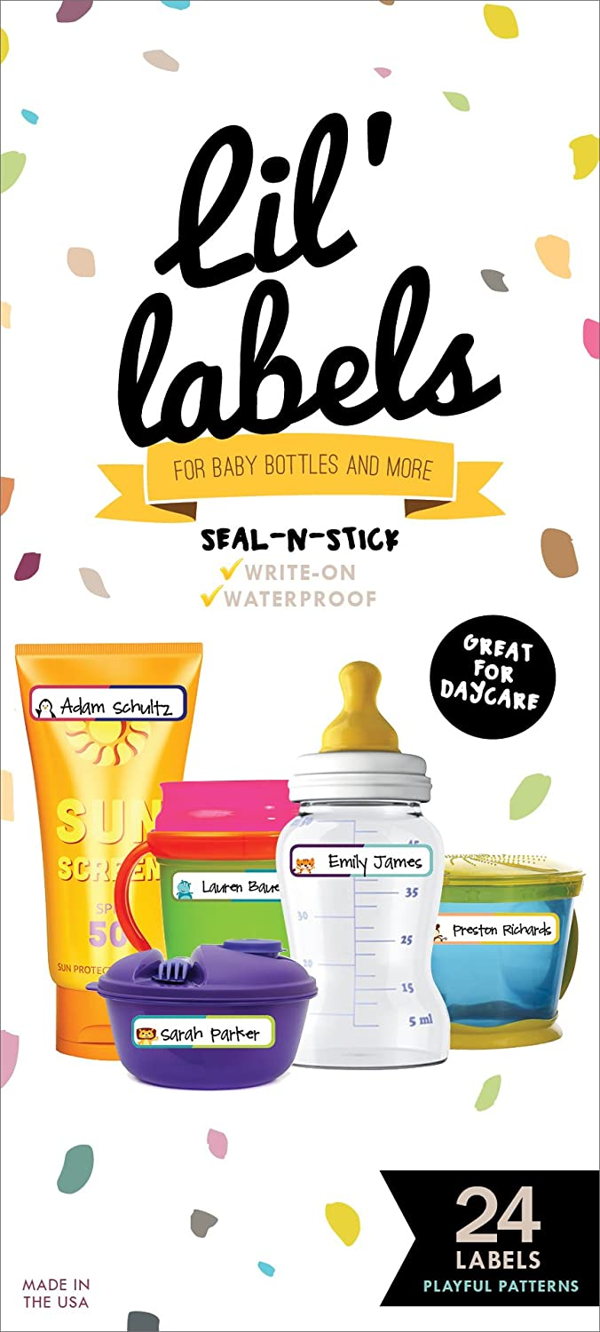 Bottle Labels, Write-On, Self-Laminating, Waterproof Kids Name Labels for Baby Bottles, Sippy Cup for Daycare School, Dishwasher Safe (Playful Patterns)